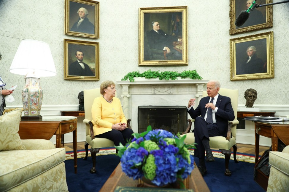 U.S. President Joe Biden holds a bilateral meeting with German Chancellor Angela Merkel in the Oval Office at the White House
