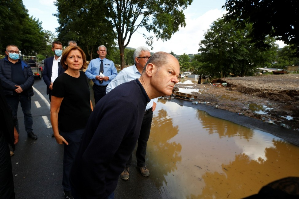 Prime Minister of Rhineland-Palatinate Malu Dreyer and German Finance Minister Olaf Scholz visit a damaged area following heavy rainfalls in Bad Neuenahr-Ahrweiler