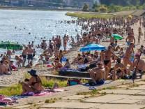 PXL_Popular beach Kopika People enjoy the sun at popular beach Kopika ,on the Drava river, in Osijek, croatia, on June