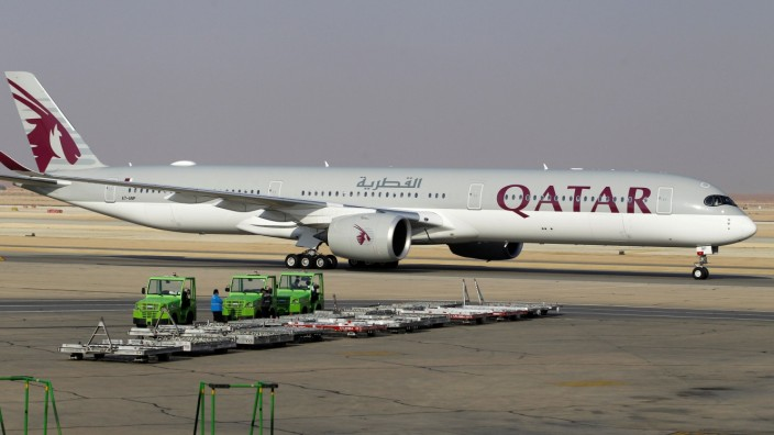 FILE PHOTO: Qatar Airways plane lands at the King Khalid International Airport, in Riyadh