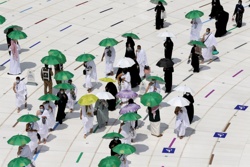 Muslim pilgrims start Tawaf in the Grand Mosque in the holy city of Mecca