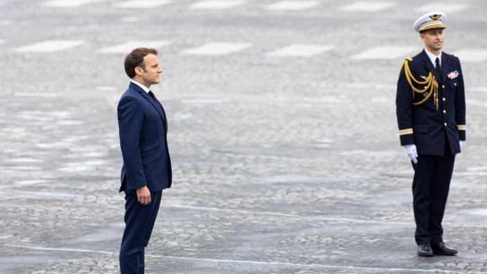 Paris, France, July 14, 2021 - French President Emmanuel Macron reviews French troops during the annual Bastille Day mi