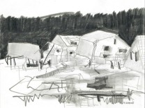 Zeichnungen von Erasmus Scheuer zum Hochwasser, begleitend zum Text seines Vaters Norbert Scheuer im ET.20.07.