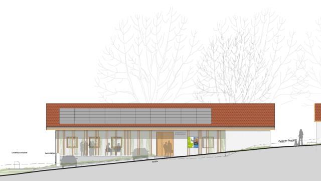 Herrsching: Die Visualisierung zeigt eine Straßenansicht des geplanten Neubaus. Visualisierung: Sommersberger Architekten