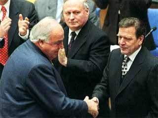 Helmut Kohl, Oskar Lafontaine und Gerhard Schröder