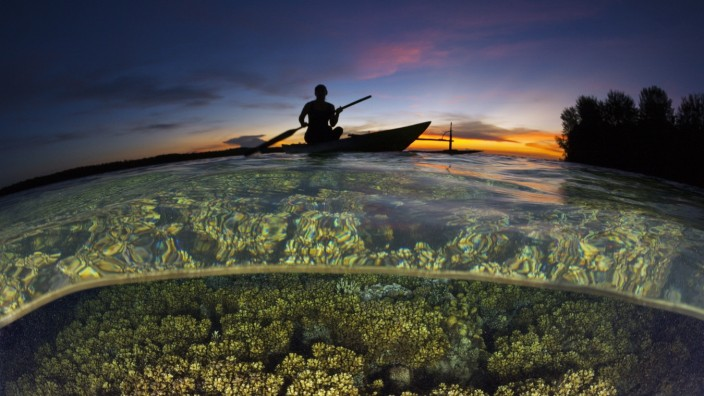 Korallenriff bei Sonnenuntergang, New Ireland, Papua Neuguinea Coral Reef at Sunset, New Ireland, Papua New Guinea Koral