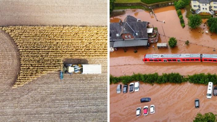 Flut, Hitze, Erderwärmung: Dürren, die die Böden vertrocknen und die Ernten beeinträchtigen, wie etwa 2019 (l.) sind das eine Extrem. Überflutete Straßen, wie zuletzt im rheinland-pfälzischen Kordel (r.), das andere.