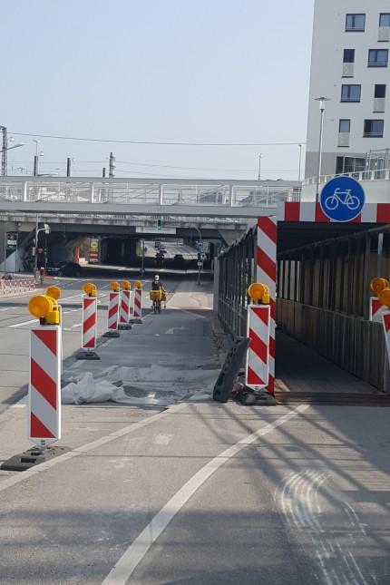 Radweg Pasing Baustelle Offenbachstraße