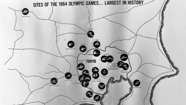 ARTISTS IMPRESSION OF OLYMPIC GAMES TOKYO SITE 27 AUGUST 1964 Copyright Topfoto PUBLICATIONxINxG