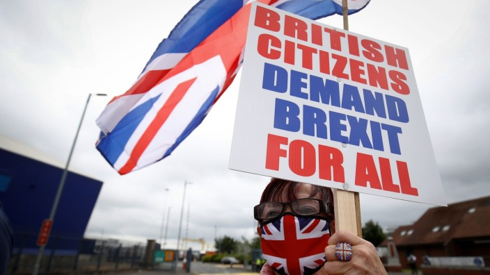 Loyalists protest against the Northern Ireland Brexit protocol at Belfast Harbour Estate