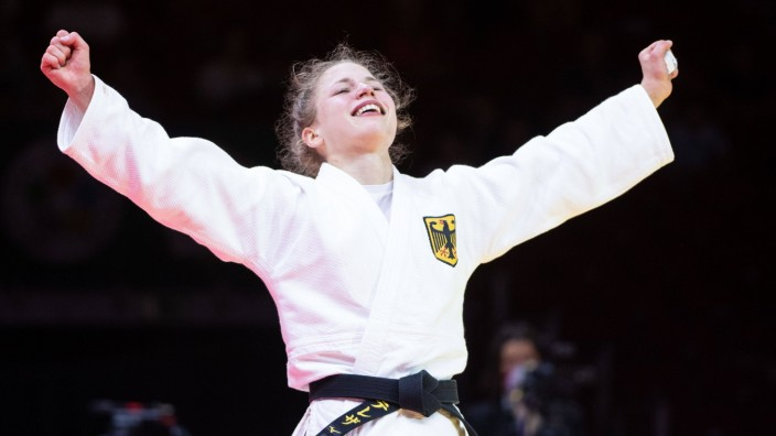 Germany s Theresa Stoll women -57 bronze during the 2021 World Judo Championships semi final at Budapest Sports Arena i; Theresa Stoll