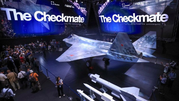 Checkmate, the new Sukhoi fifth-generation stealth fighter jet, is seen during an opening ceremony of the MAKS 2021 air show in Zhukovsky