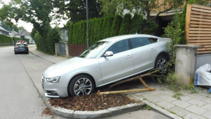 Planegg: Beim Rückwärtsfahren überrollt: Baum, Zaun und Verteilerkasten.