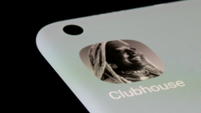 FILE PHOTO: Clubhouse app is seen on a smartphone in this illustration