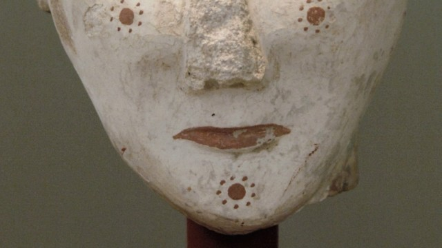 Woman s head painted It comes from the Worship Center area of the acropolis of Mycenae 13th centur
