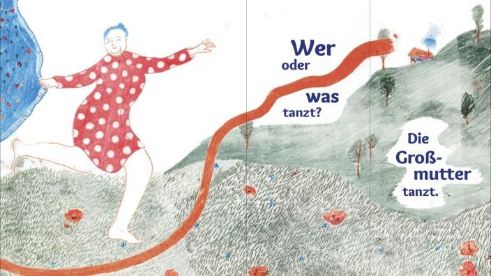 """Sachbilderbuch: Hier tanzt der Nominativ: Eine der Aufklapp-Seiten in """"Hunde im Futur. Eine Grammatik in Bildern""""."""