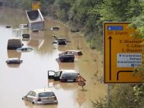 Die B256 bei Erftstadt nach dem Hochwasser im Erftkreis