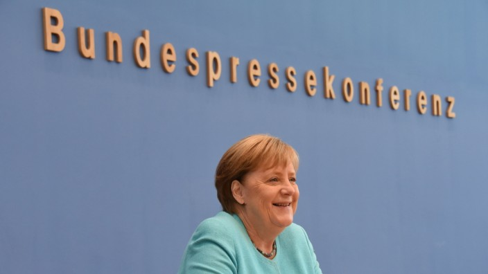 Chancellor Angela Merkel Holds A Press Conference