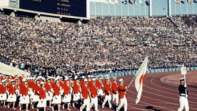 1964 Tokyo Olympics: opening ceremony Japanese athletes march at National Stadium during the Tokyo Olympics opening cere