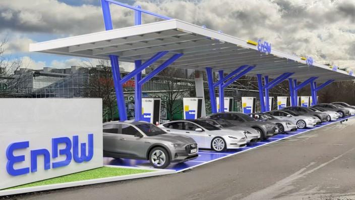 Mobilität: So wird die Schnellladestation vor dem Edeka-Supermarkt in Unterhaching aussehen.