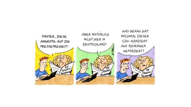 Karin Mihm, Karikatur, Forum, 24.7.2021, Hein-Georg Maaßen will Medienvertreter durchleuchten lassen und Laschet unternimmt nichts dagegen; Pressefreiheit