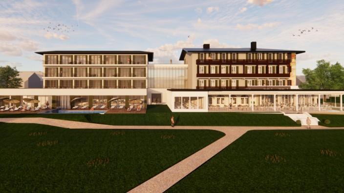 Bauprojekt am Starnberger See: Alt und Neu mit einem Glasbau verbunden: So stellen sich die Planer den Anbau (links) an das alte Feldafinger Hotel vor. Visualisierung: Architektenbüro DBLB