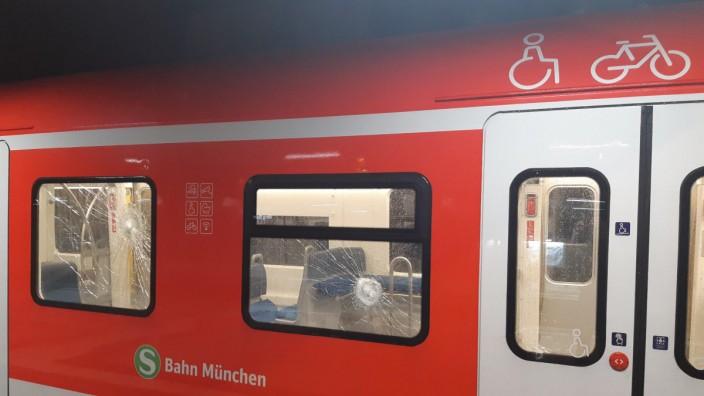 Die beschädigte S-Bahn