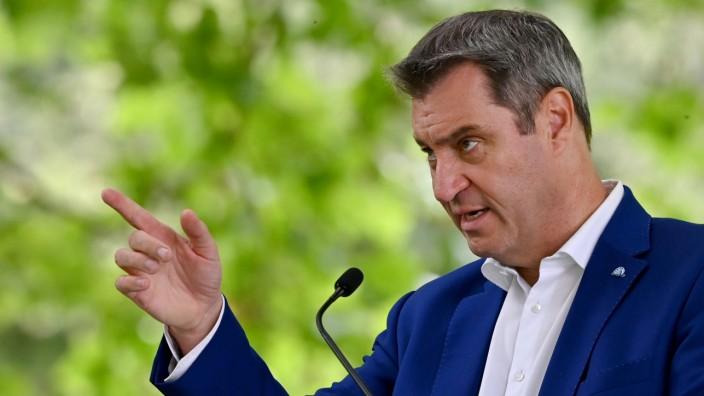 Markus Söder nach einer Sitzung des bayerischen Kabinetts
