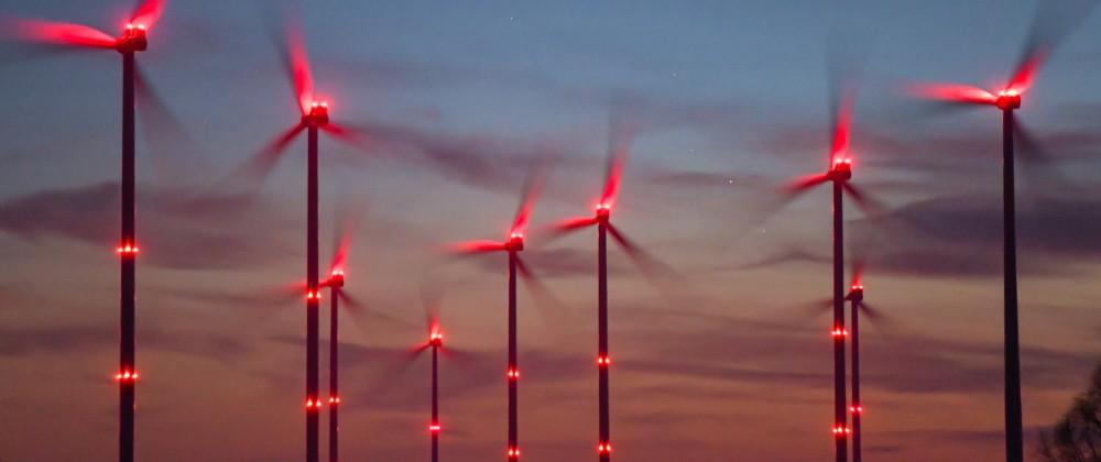Blinkende Windenergieanlagen