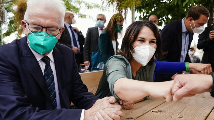 Die Grünen: Kanzlerkandidatin Annalena Baerbock und Winfried Kretschmann beim Wahlkampfauftakt in Baden-Württemberg.