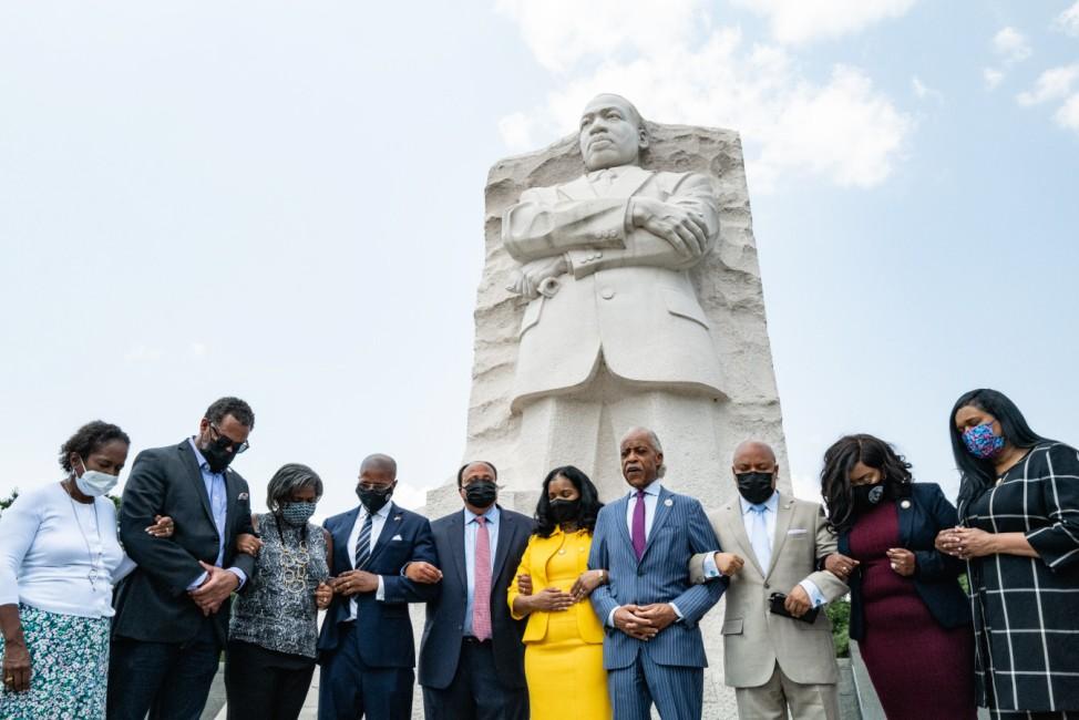 Texas Democrats And Civil Rights Leaders Meet With Civil Rights Leaders at the Martin Luther King, Jr. Memorial