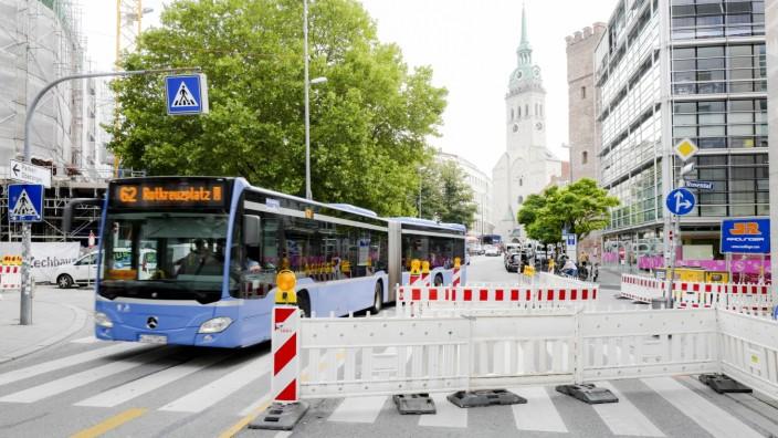 Baustellenarbeiten in München, 2019