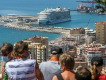 July 13, 2021: July 13, 2021 (Malaga) The first international cruise ship to dock in Malaga after 16 months with almost
