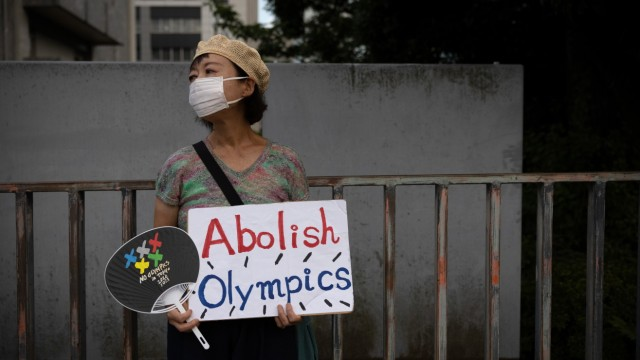Anti-Olympics Protesters Rally Outside Japanese Prime Minister's Residence