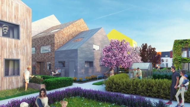 Fünf Favoriten der Woche: Hauptsache bunt: Für den Wiesbadener Projektentwickler Traumhaus hat das Rotterdamer Architekturbüro MVRDV unterschiedliche Haustypen für Mannheims neuen Stadtteil Franklin entwickelt.