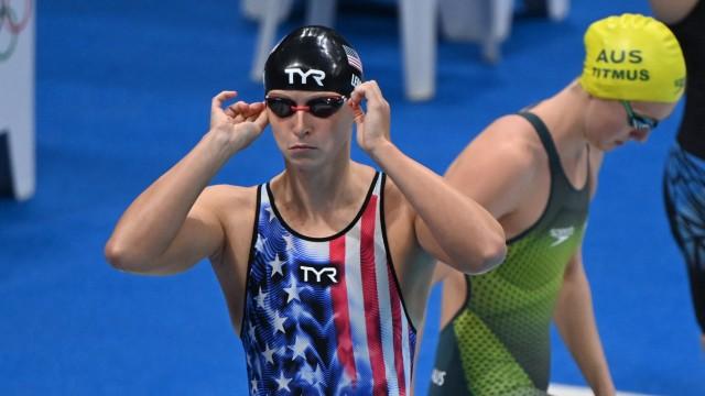 Schwimmen: Jetzt auch mit echter Konkurrenz: Katie Ledecky muss sich daran gewöhnen, dass ihr in der Australierin Ariarne Titmus eine echte Rivalin erwachsen ist.
