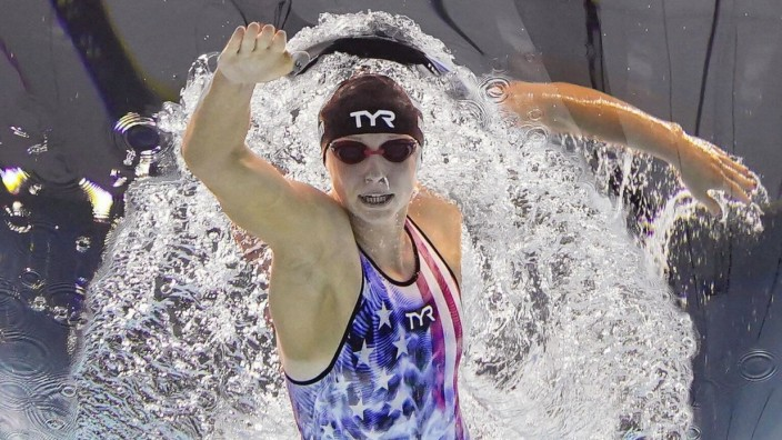 Tokyo Olympics: Swimming U.S. swimmer Katie Ledecky competes en route to winning the women s 800-meter freestyle final