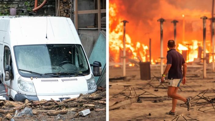 Italien: Im Norden Italiens stecken Menschen und Autos im Schlamm fest, im Süden lodern Brände.