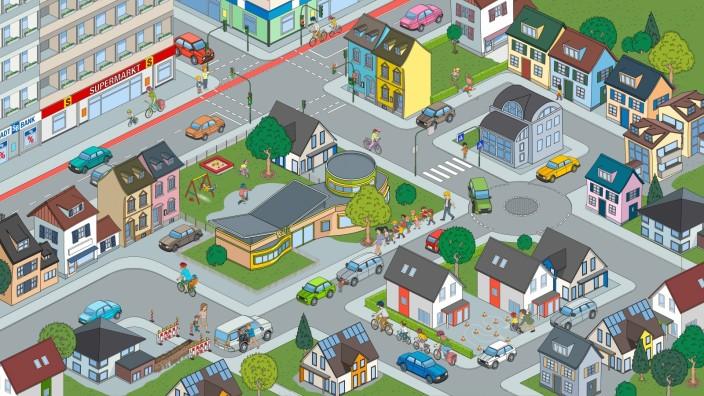 Verkehrssicherheit: Insgesamt 17 Szenen aus dem Verkehrsalltag von Kindern finden sich in diesem Wimmelbild.