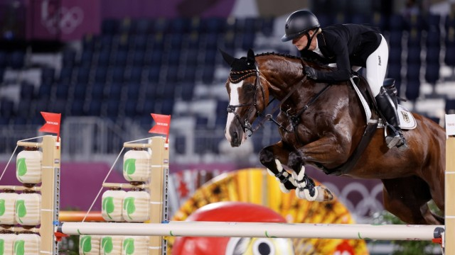 German Julia Krajewski competes in Jumping event during Tokyo 2020 Olympic Games, Olympische Spiele, Olympia, OS at Equ