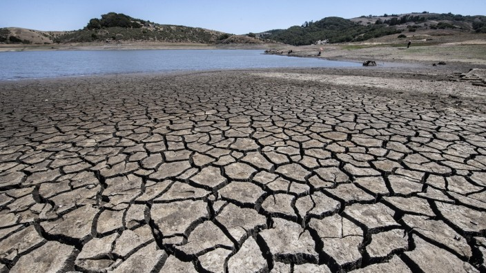 Dried lake bed bakes in the sun at Nicasio Reservoir in Nicasio, California on Saturday, July 10, 2021. Governor Gavin N