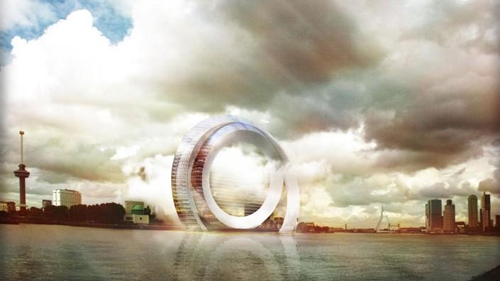Ökologie und Architektur: The Dutch Windwheel: So soll es einmal aussehen, das niederländische Windrad, das in den kommenden Jahren im Hafen von Rotterdam entstehen soll. Das visionäre Projekt ist Windkraftanlage und bewohnbare Solar-Architektur in einem.