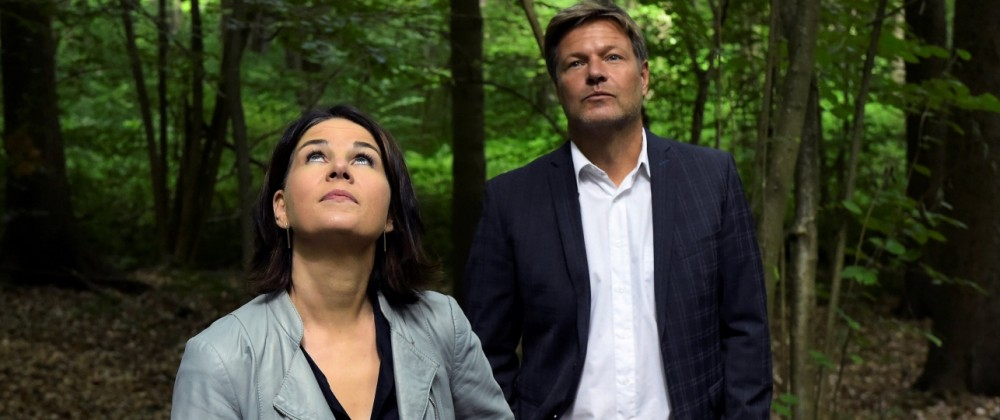Co-leaders of Germany's Green party Habeck and Baerbock walk at the moors of the Biesenthaler Basin nature reserve