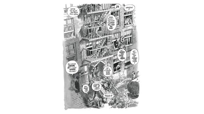 """Pionier der Graphic Novel: Will Eisner: Die Vielvölkerstadt New York war immer wieder Schauplatz und Thema von Will Eisners Comics. Hier ein Panel aus """"The Block"""" aus dem Jahr 1983."""