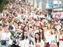 MINSK, BELARUS - AUGUST 22, 2020: Participants in the Belarus Against Violence event gather on Independence Avenue. Exi
