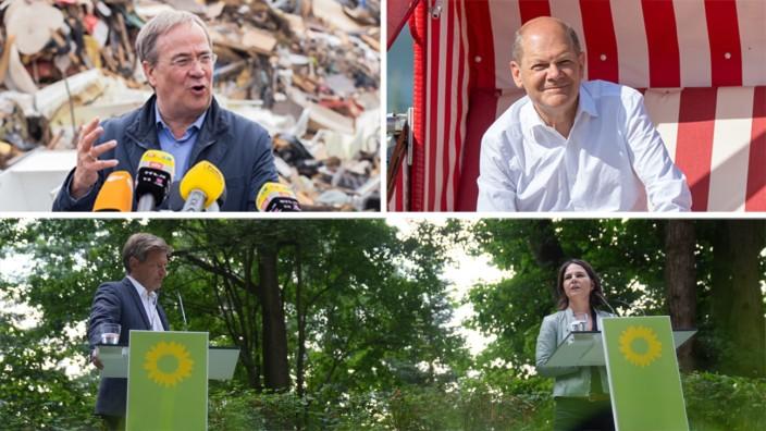 Kombo: Laschet, Baerbock und Scholz