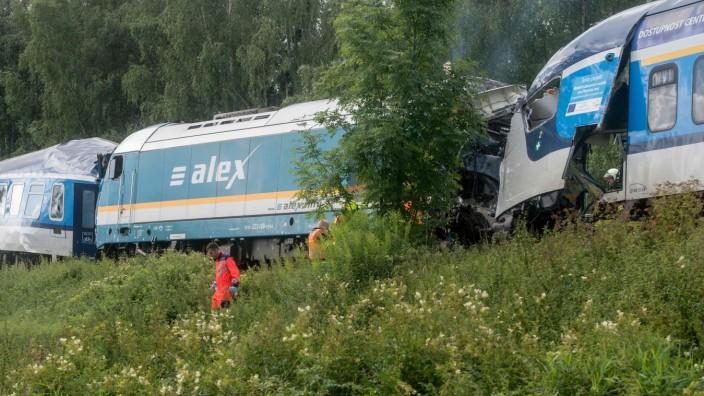 Zugunglück: Unfallstelle nahe Domazlice kurz hinter der deutsch-tschechischen Grenze.