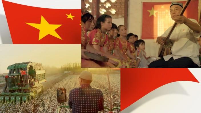 """China in Natur- und Kulturfilmen: In Doku-Filmen wie """"Xinjiang - eine moderne Metropole"""" wird die Entwicklung der chinesischen Gesellschaft positiv dargestellt: oben musizierende Uiguren, links Baumwollernte."""