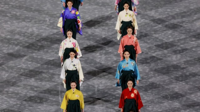 View of the closing Ceremony of the Tokyo 2020 Olympic Games, Olympische Spiele, Olympia, OS at the Olympic Stadium in T