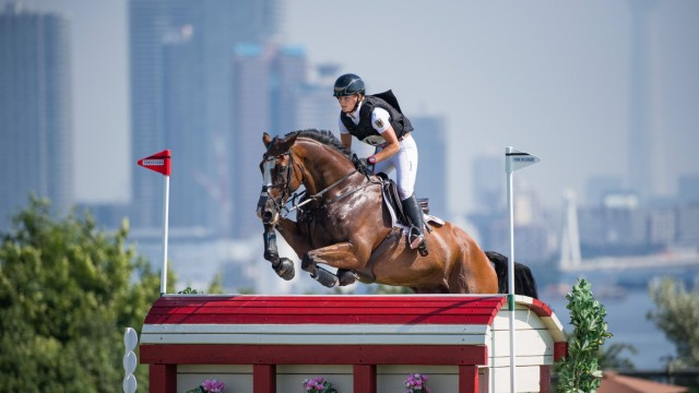 210801 Julia Krajewski of Germany on horse Amande De B neville competes in Equestrian Cross Country Team and Individual